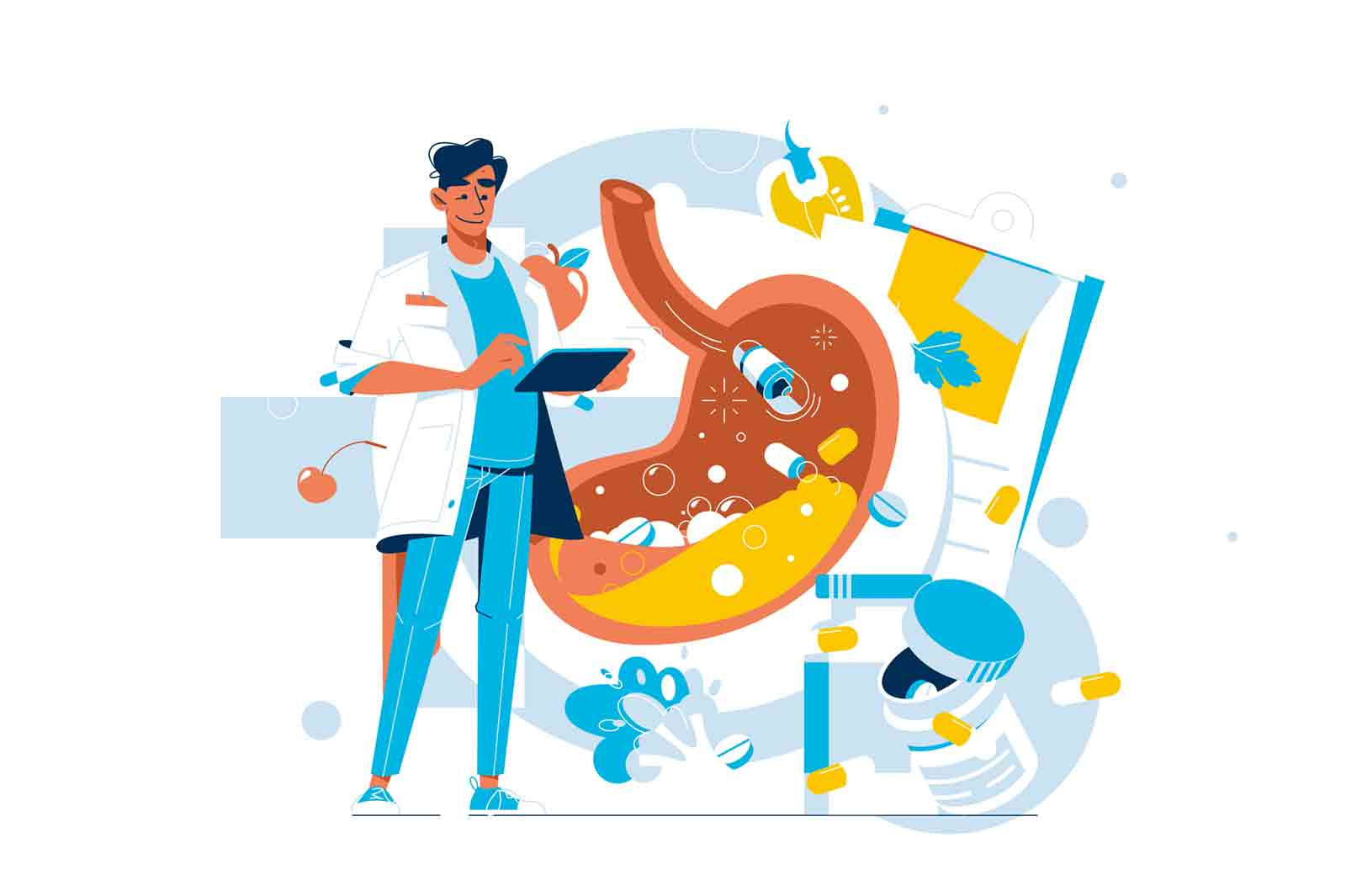 Doctor examine disease and treat stomach vector illustration. Checkup, xray diagnosis flat style. Gastroenterology, medicine, health concept