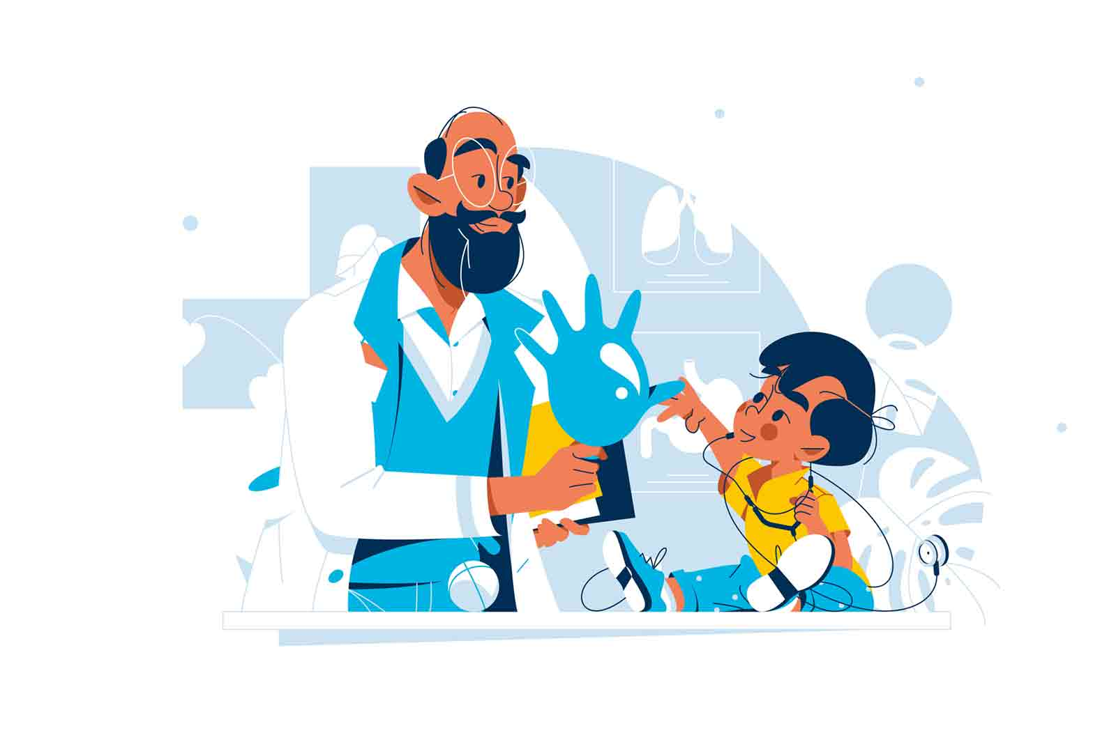 pediatrician, kid, checkup, children, doctor, vector, illustration, entertain, child, appointment, flat, style, health, medicine, healthcare, clinic, hospital, baby, professional, nurse, uniform, stethoscope, tool, equipment, recovery, disease, sick, ill, cough, qualified, office, fun, toddler, consultation, examination, organism, patient, attention, medic, listen, glove, play, test, body, male, specialist