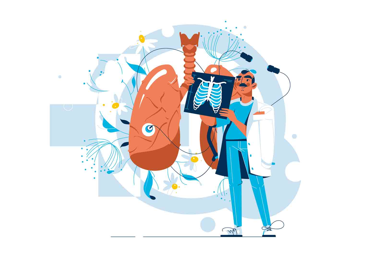 Doctor examine xray of patient vector illustration. Human lung and treatment flat style. Respiratory system examination, pulmonology concept