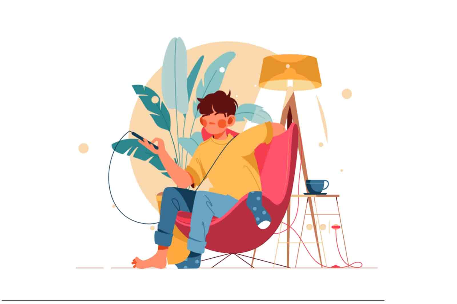 Man sit in chair with smartphone. Lottie, After effects animation.