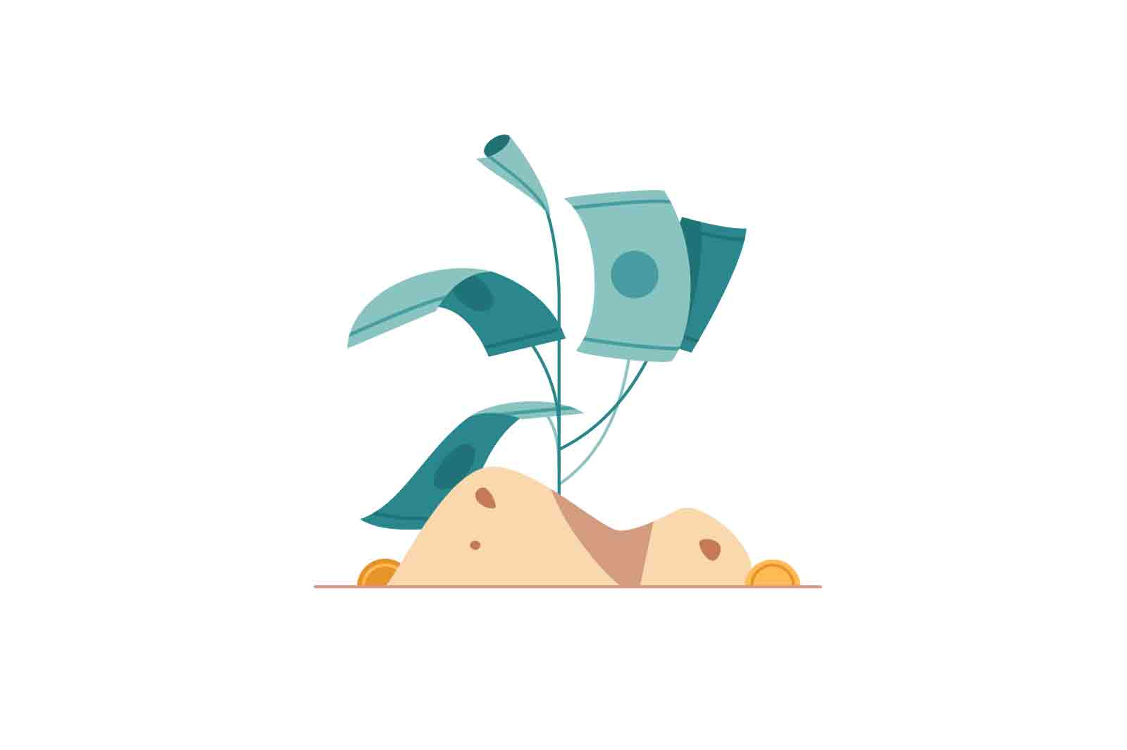 Money tree Animation. Small tree with money banknotes waving from left to right. Lottie, After Effects source files.