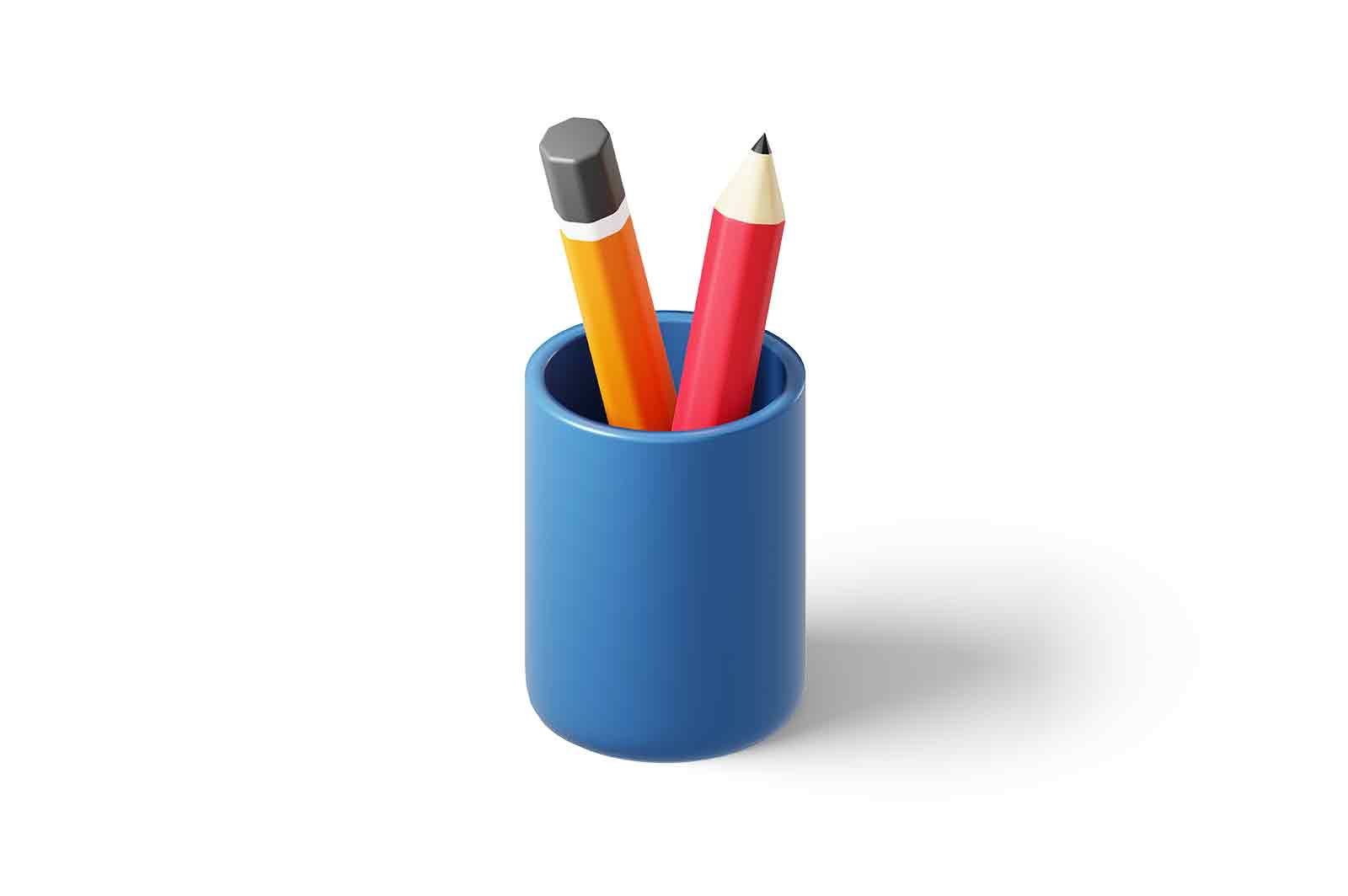 Colourful pencils in stationery glass 3d rendered illustration. Isometric simple pencils in blue cup. Office and school supplies concept