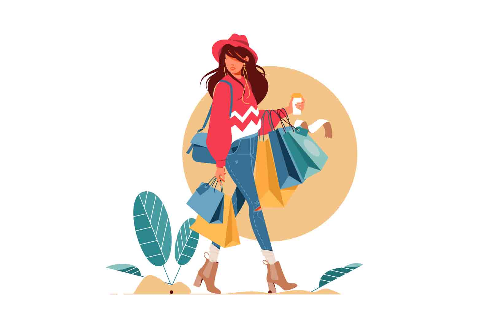 Young woman holding packages with clothes after shopping Lottie animation. Isolated concept girl character with perfect style.
