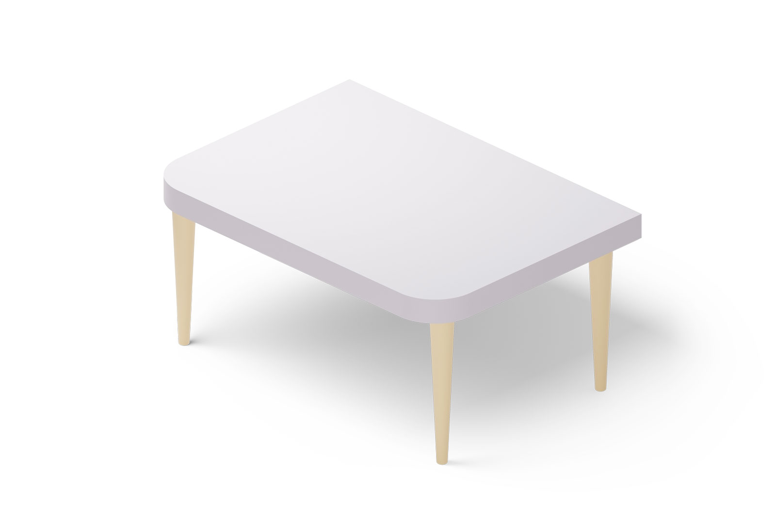 White table 3d illustration. Stylish table in simple modern style for interior design, living room.