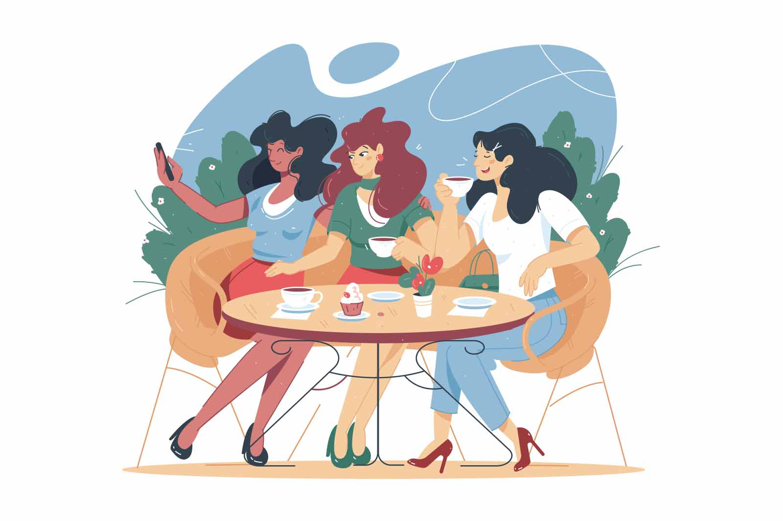 Cartoon people characters spending time in street cafe vector illustration. Women friend drink coffee, eating and making selfie on smartphone. Friendly meeting idea