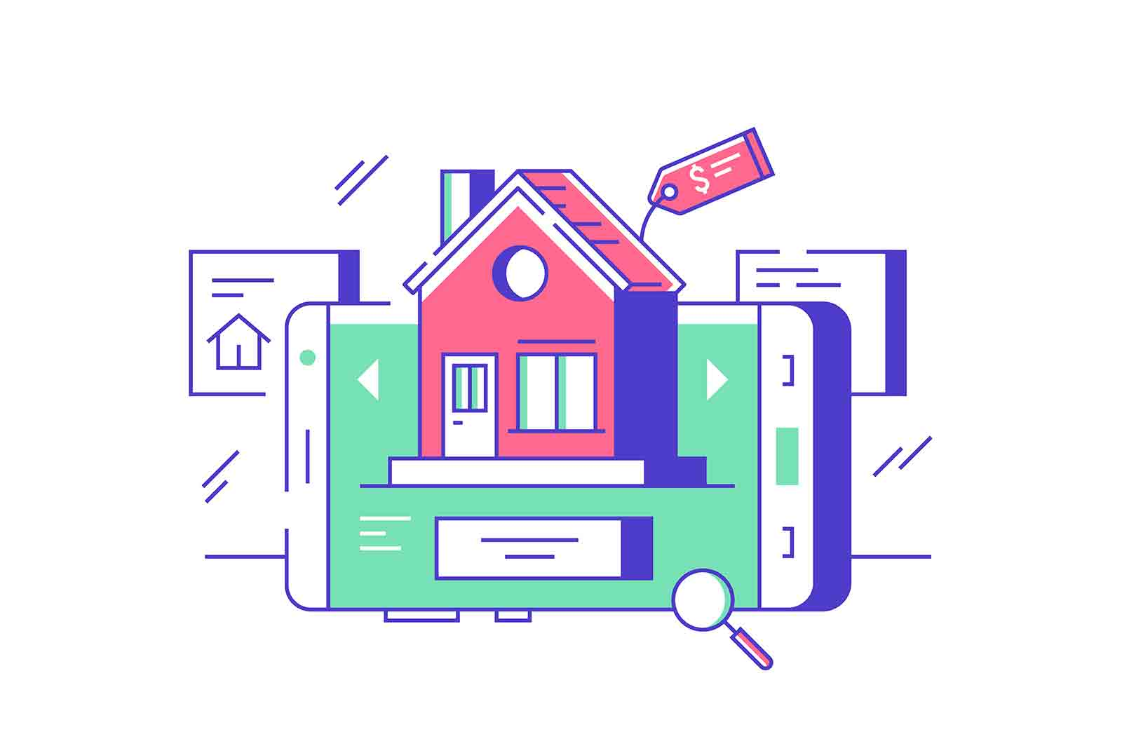 Real estate online sale or rent vector illustration. Sale, purchase, rent, mortgage house online on smartphone flat style. Network marketing agency, remote choice concept. Isolated on white background