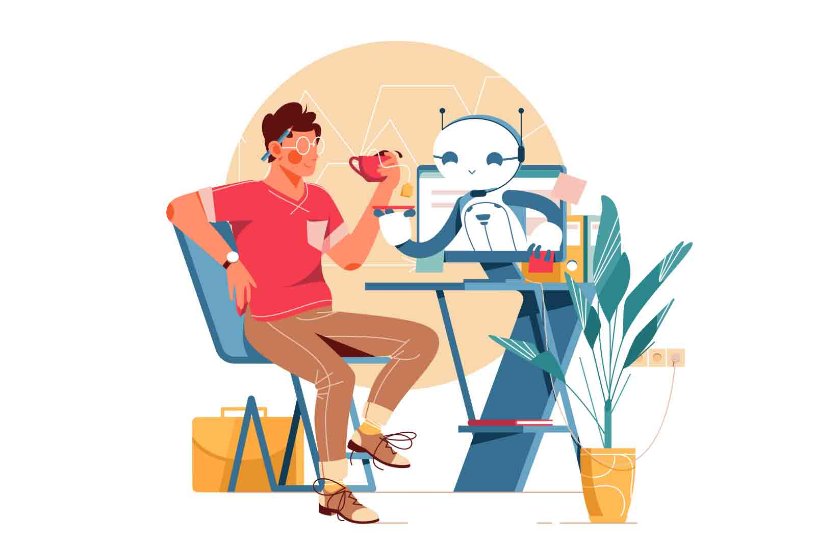 Robot helps man Animation. Man sitting at workplace and drinking tea. Bot helping guy and holding saucer. Lottie (json), After Effects, Mp4