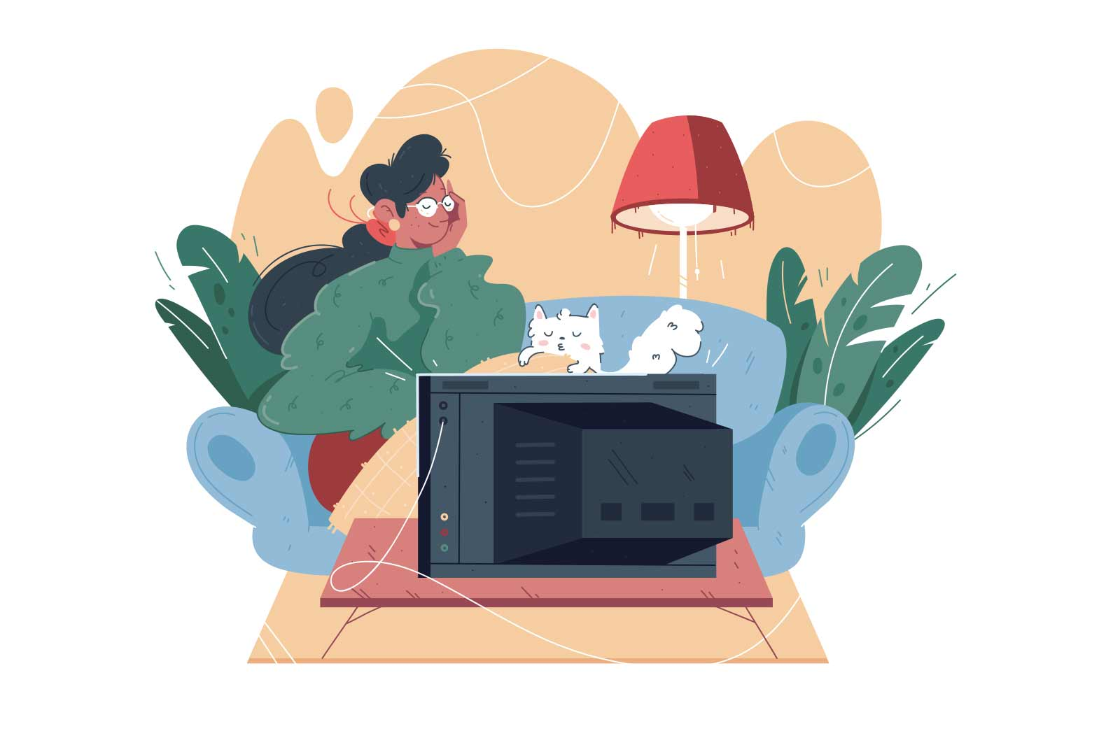 Lonely woman with cat watching movies vector illustration. Young female covering with blanket spending leisure time at home flat style concept