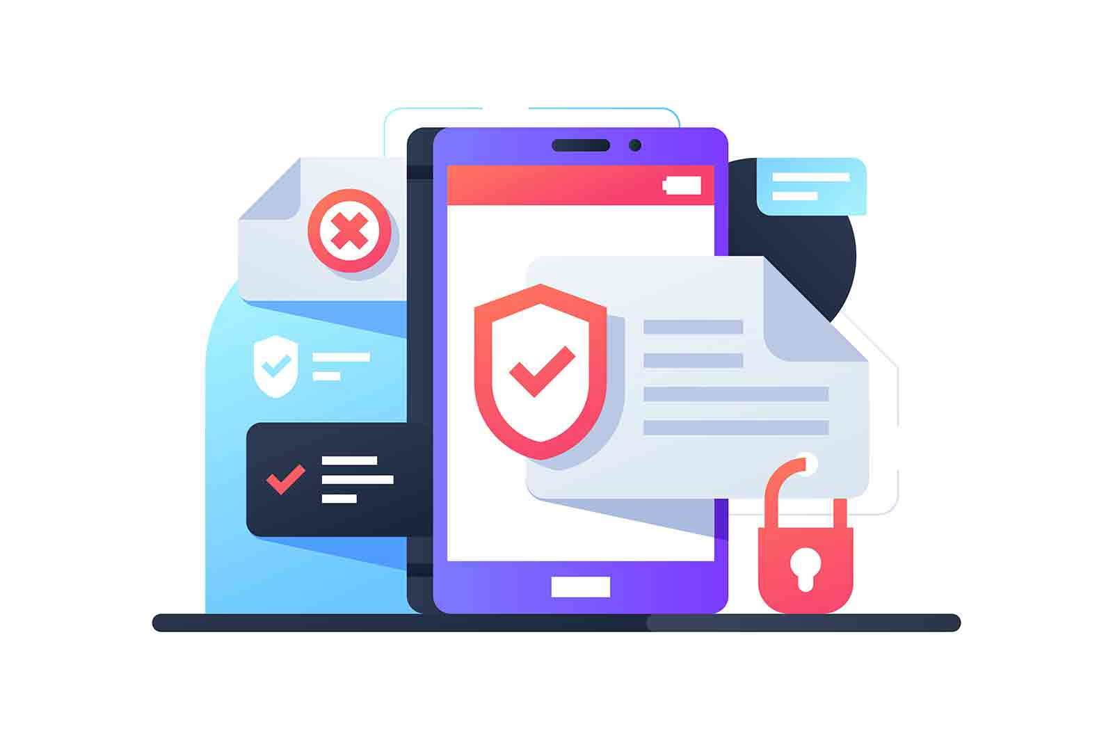 Data protection on smartphone using application. Isolated concept mobile device with app for system security. Vector illustration.