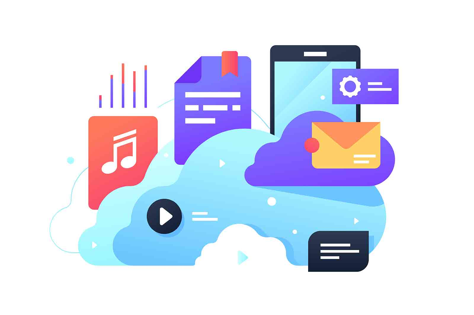 Files in cloud storage vector illustration. Computing service for storing data documents, photos and music on remote servers flat style design.