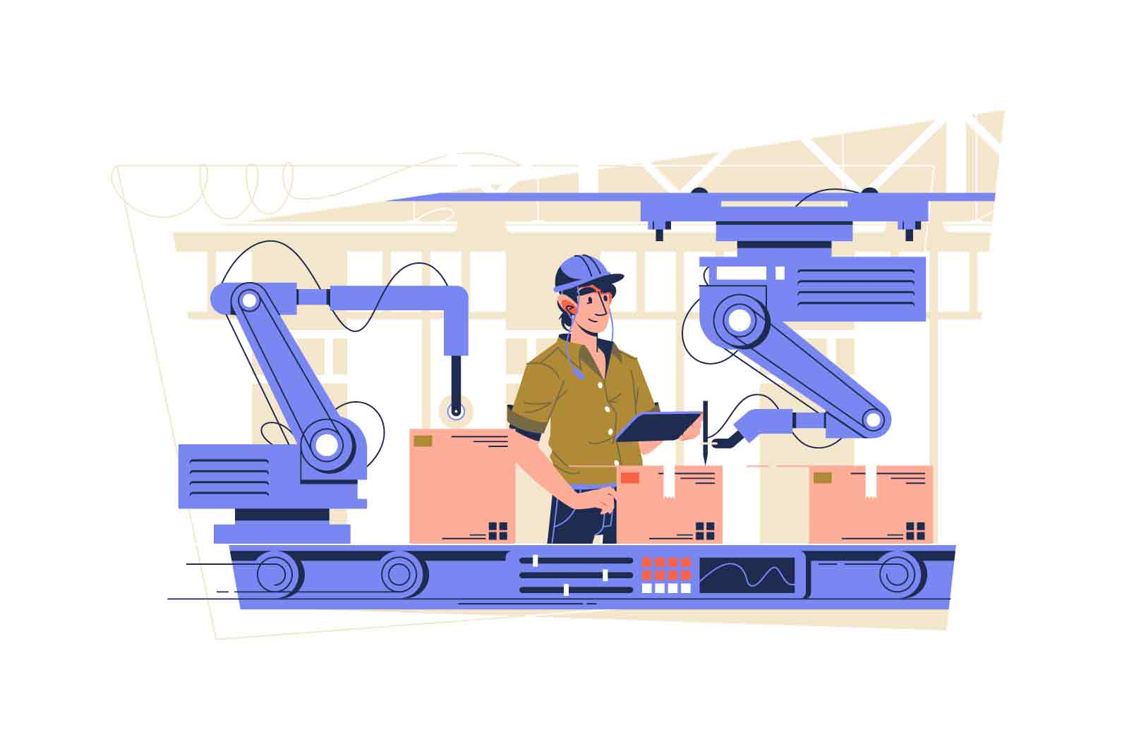 Automated production line on factory vector illustration. Delivery and distribution industry flat style. Manufacturing process concept