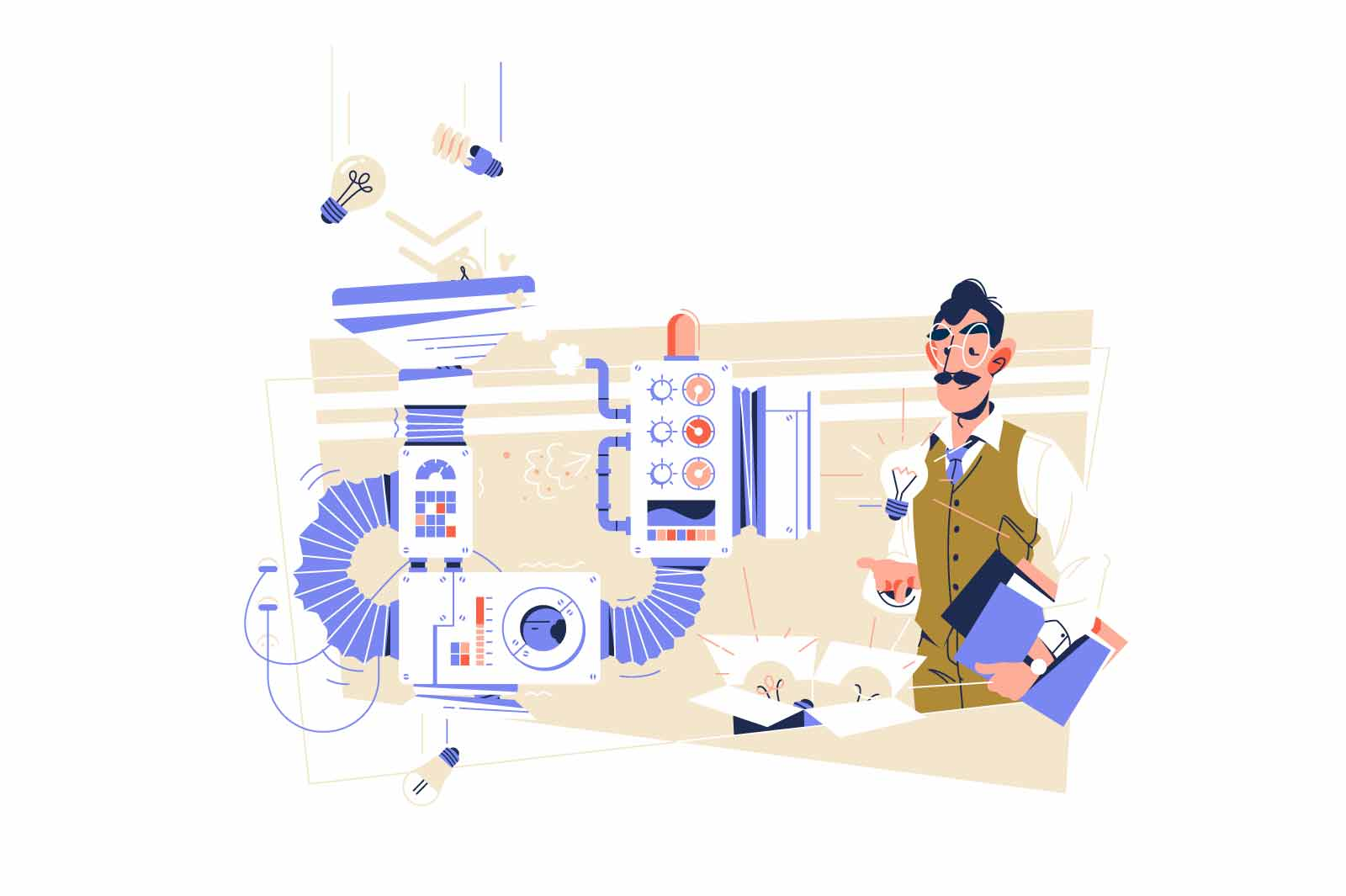 Scientist created machine to filter idea vector illustration. Lightbulb as creative vision flat style. Science, invention, discovery concept
