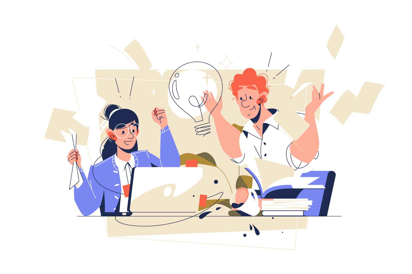 Smart guy with bright genius idea in office vector illustration. Working mess on workplace flat style. Sharing knowledge, teamwork concept