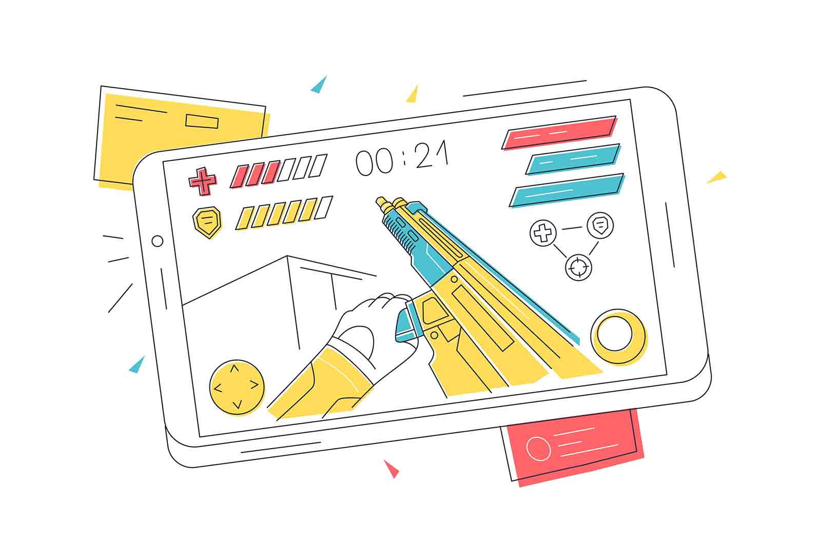 Video game on mobile phone vector illustration. Smartphone screen with online video game linear. Entertainment, fun, pastime concept