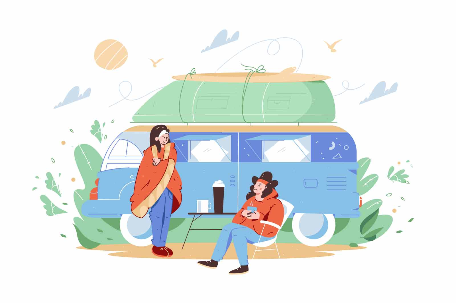 Friends travel on house on wheels vector illustration. Start day with coffee on nature flat style. Explore world on car, adventure concept