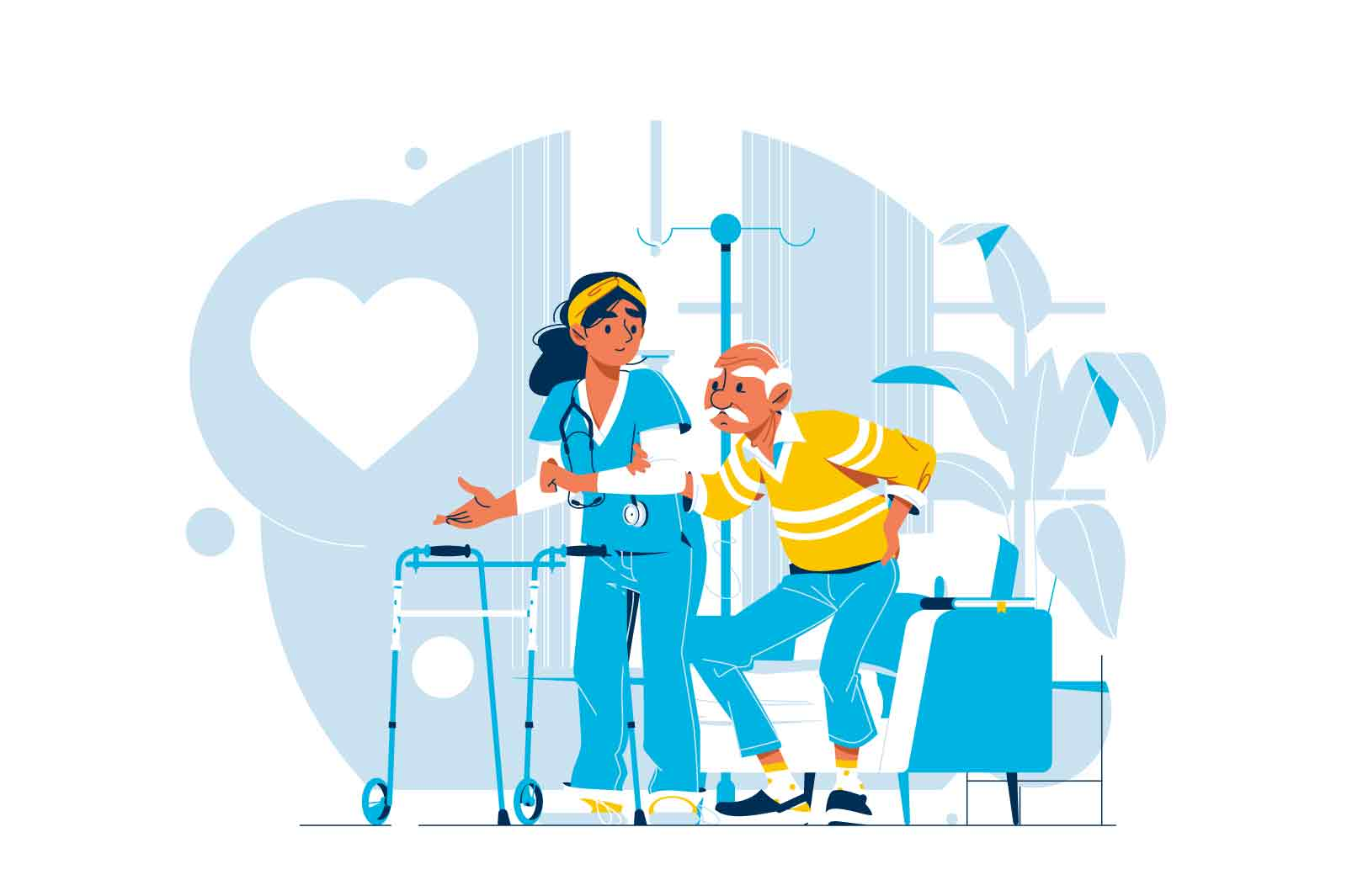 Medical care for elderly male character vector illustration. Aged seniors nurse care flat style. Healthcare, medicine, oldness concept