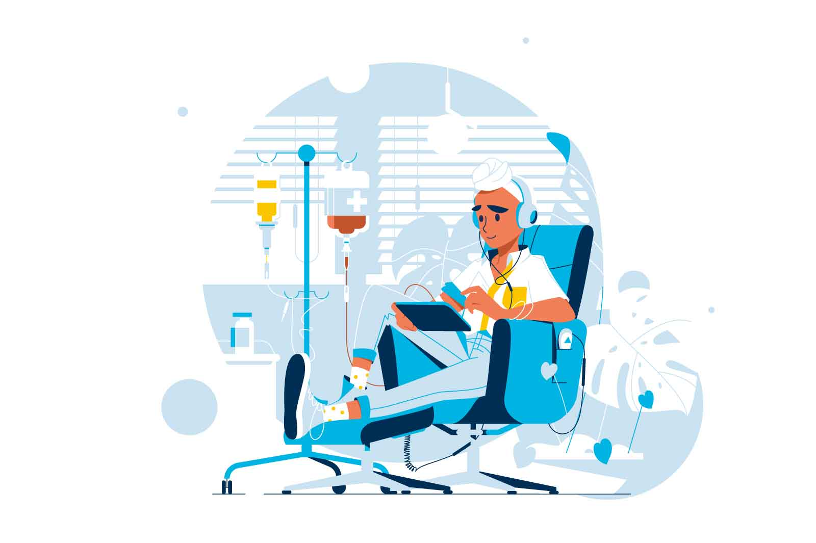 Patient suffer from cancer disease vector illustration. Patient with dropper getting chemo flat style. Oncology, medicine treatment concept