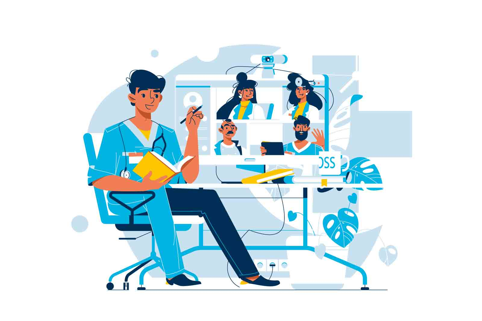 Doctors online video conference meeting vector illustration. Talking with medical professionals flat style. Medicine, healthcare concept