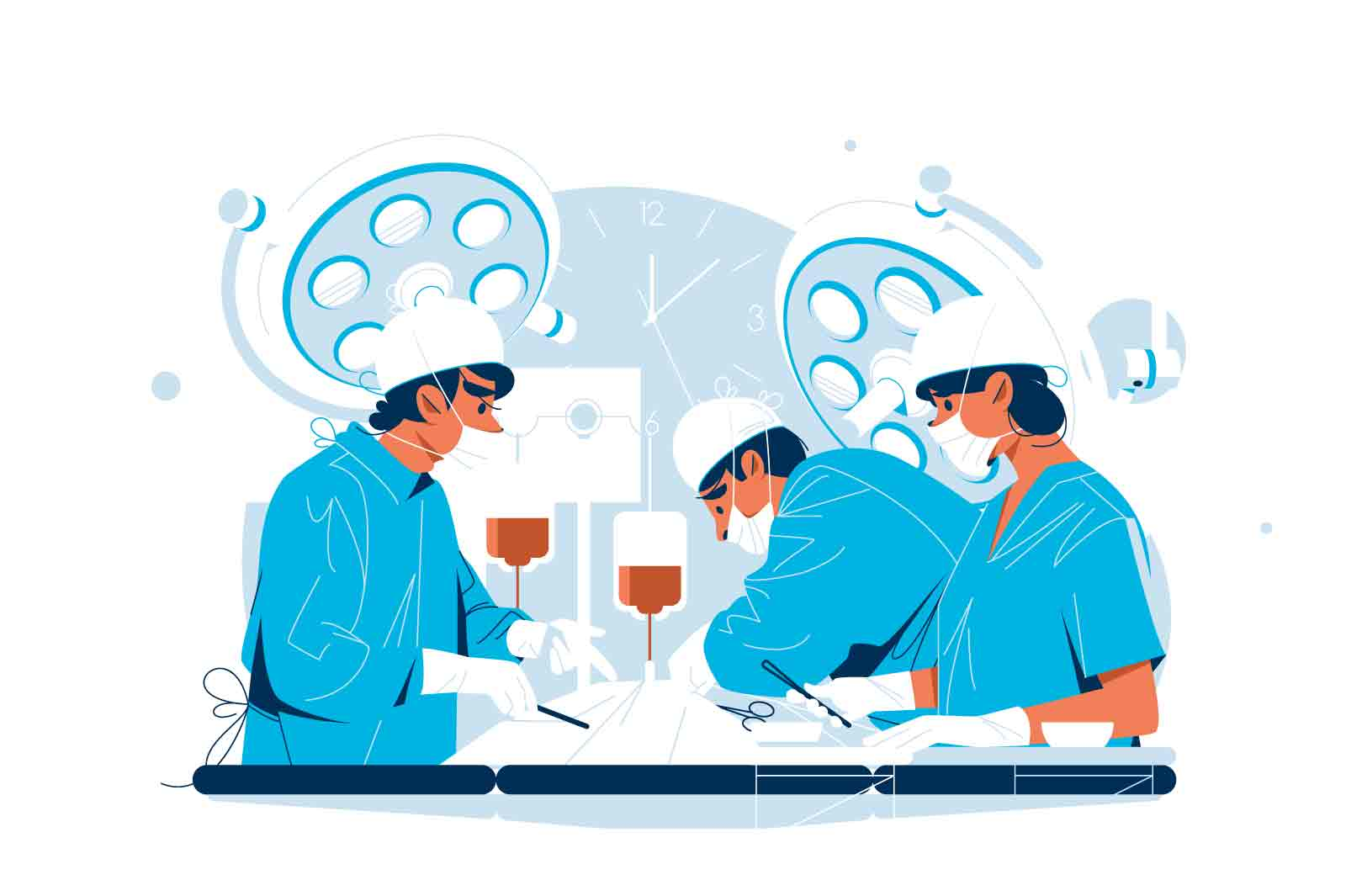Surgeon and nurse perform surgical operation