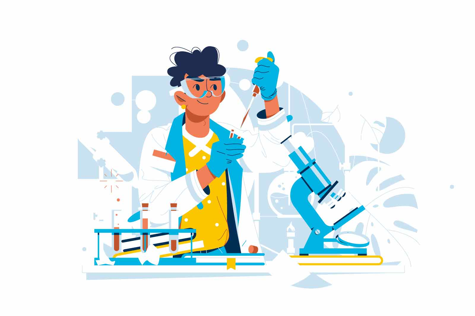 Laboratory worker examine test material vector illustration. Blood toxicity testing flat style. Science, investigation, toxicology concept