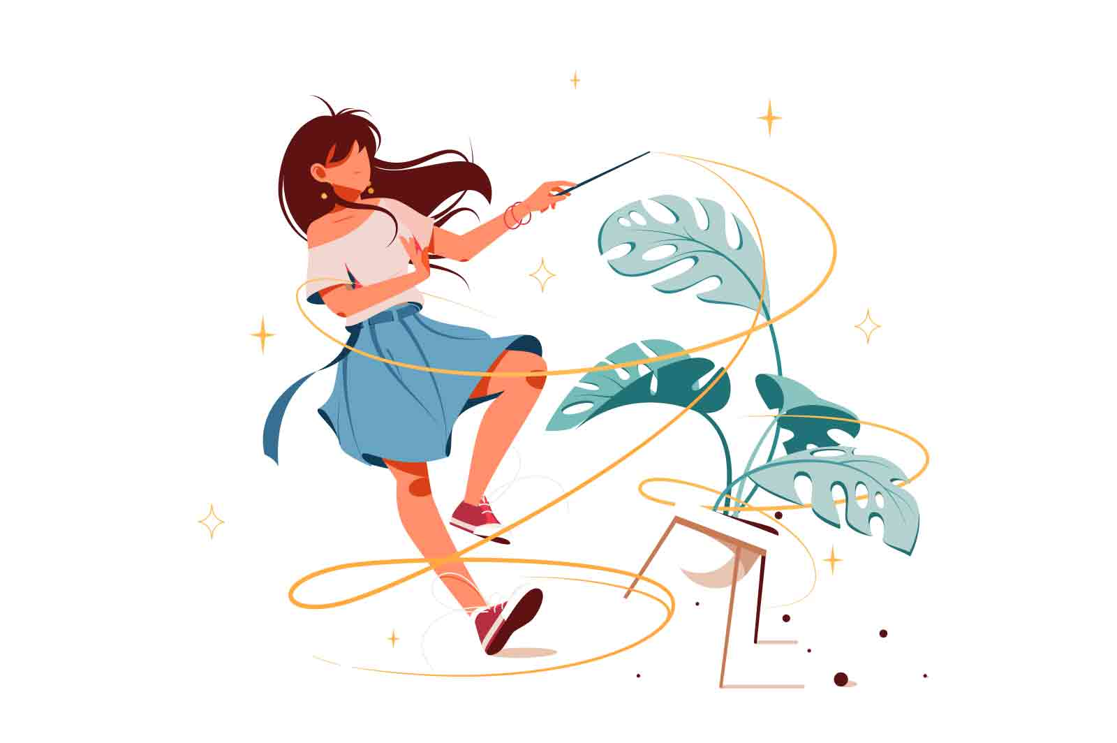 Girl with magic wand Lottie animation. Turning potted plant into something. Fairy with powerful stick cartoon design.