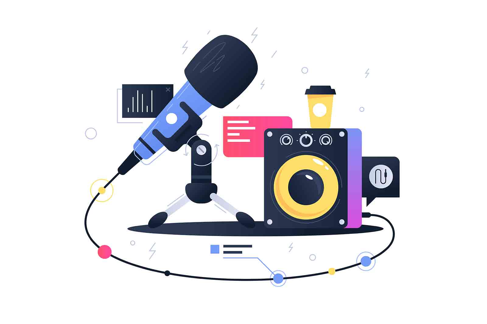Microphone connecting with subwoofer speaker. Concept symbol device for recording music. Vector illustration.