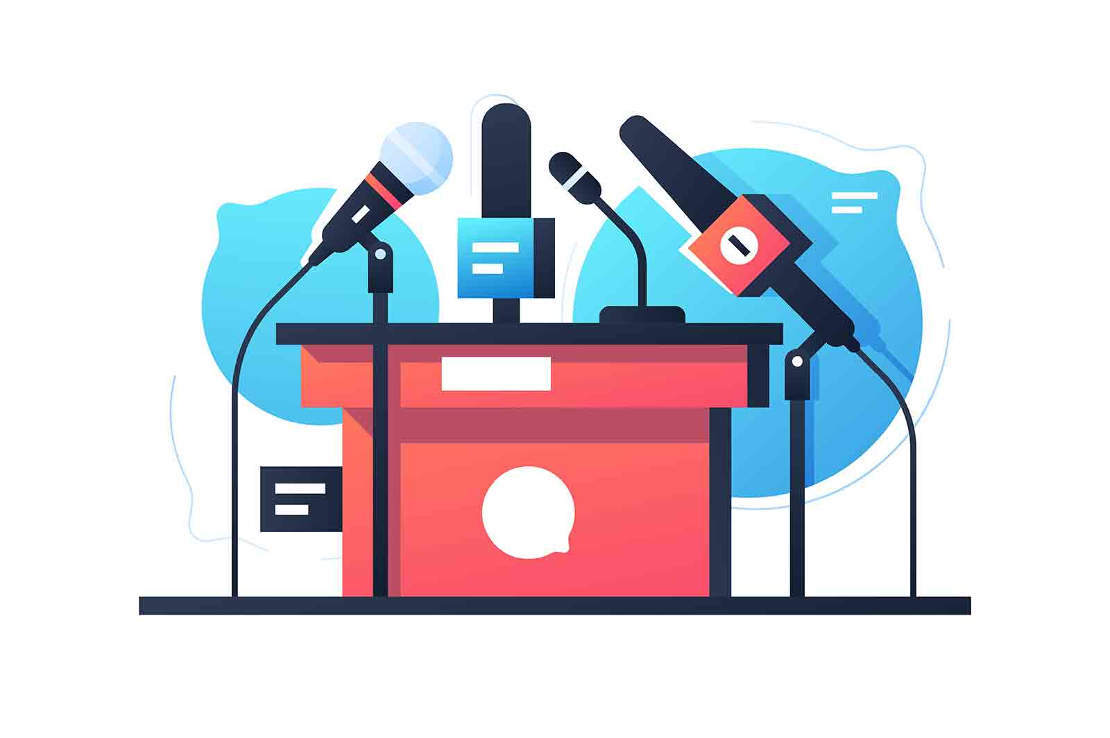 Empty debate and negotiation microphone stand icon. Isolated concept communication equipment on bubble speech background. Vector illustration.