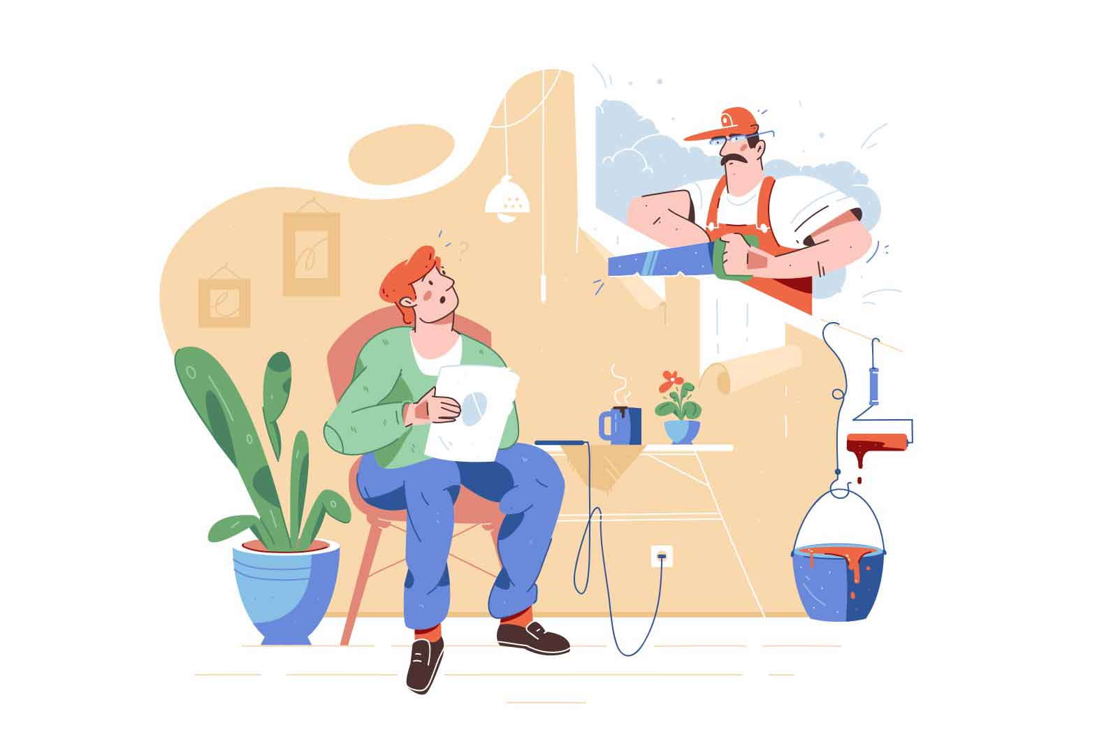 Worker using saw for repairing work at home vector illustration. Owner read newspaper flat style. Renovation, change interior design concept