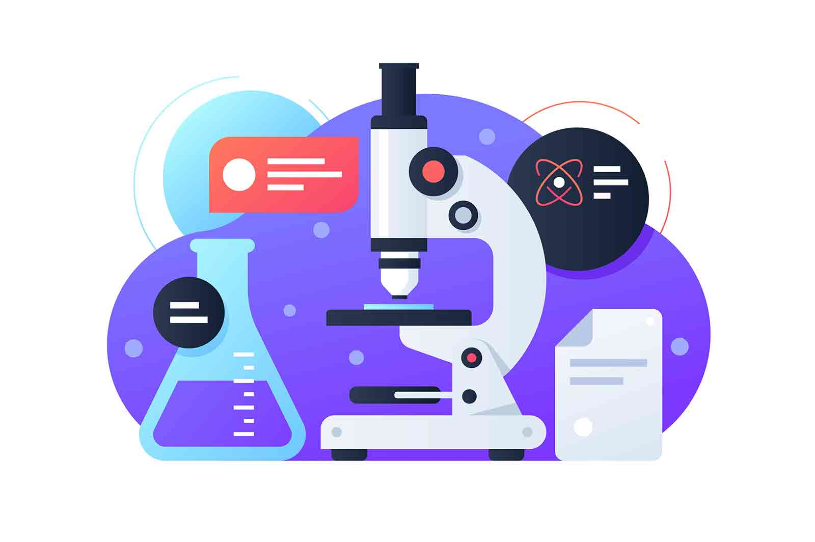 Scientific equipment for research: flask and microscope.Isolated concept icon for development in chemistry, medicine and biology. Vector illustration.