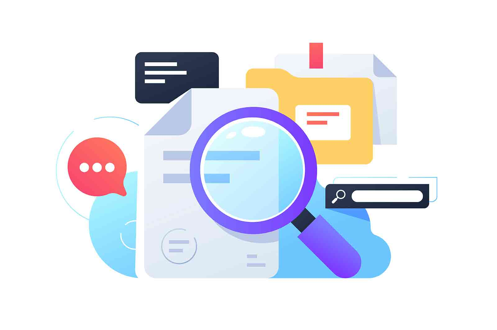 Magnifier searching information using documents and internet. Isolated concept equipment for collection data using web service, folders and online. Vector illustration.