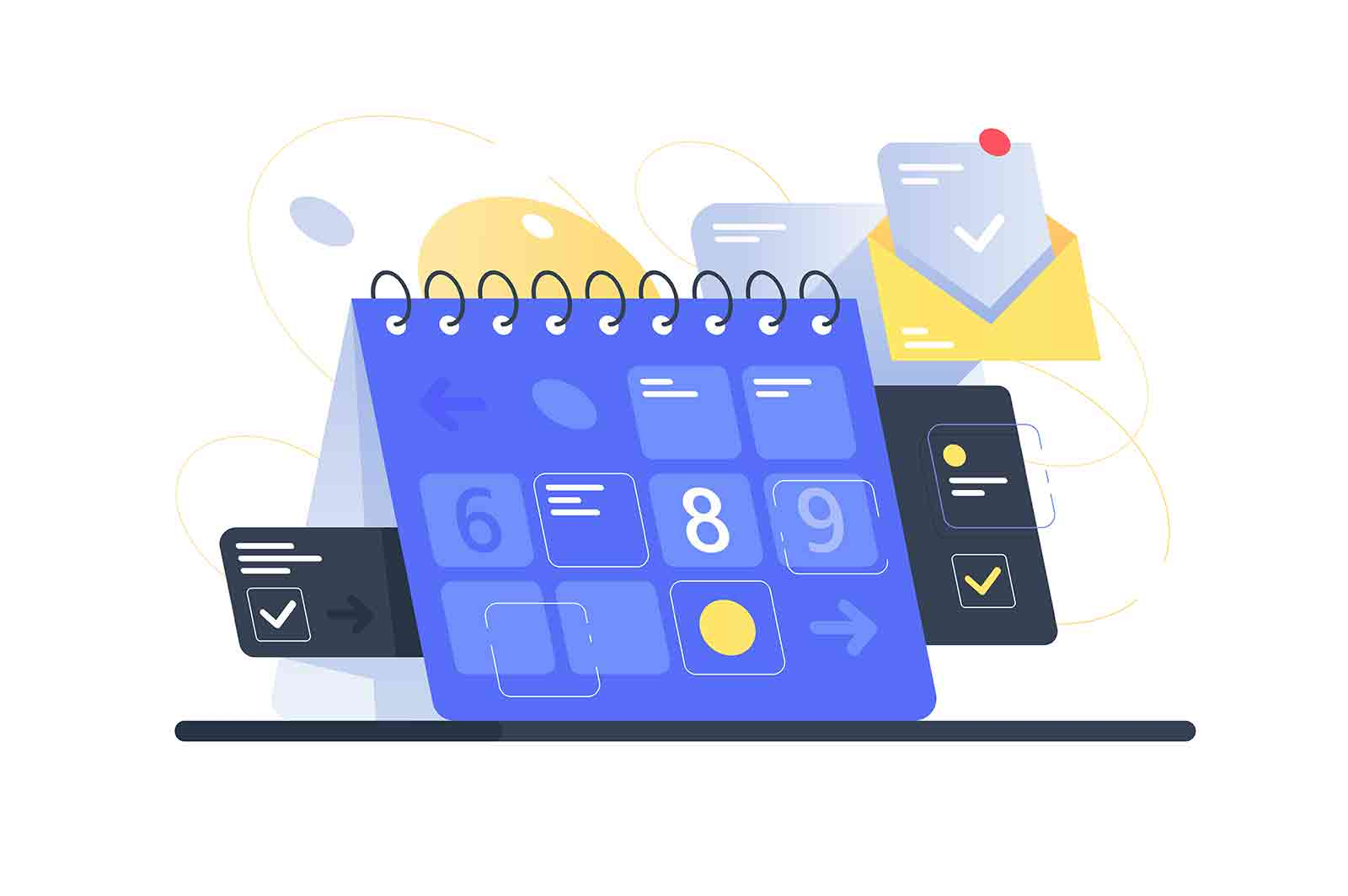 Modern calendar with task managment and mail app. Concept schedule planning business using equipment with checkbox. Low poly. Vector illustration.