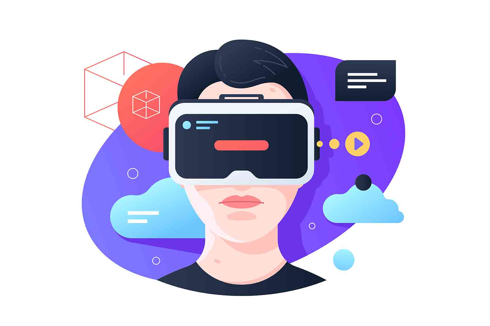 Virtual reality glasses vector illustration. Young boy having fun wearing modern entertainment flat style. Spare time and hobby concept.