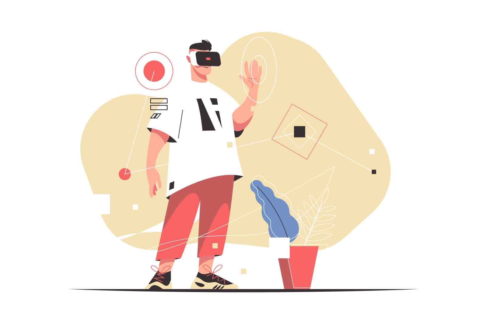 Excited man experiencing virtual reality glasses vector illustration. Pastime in vr headset flat style. Technology, entertainment concept