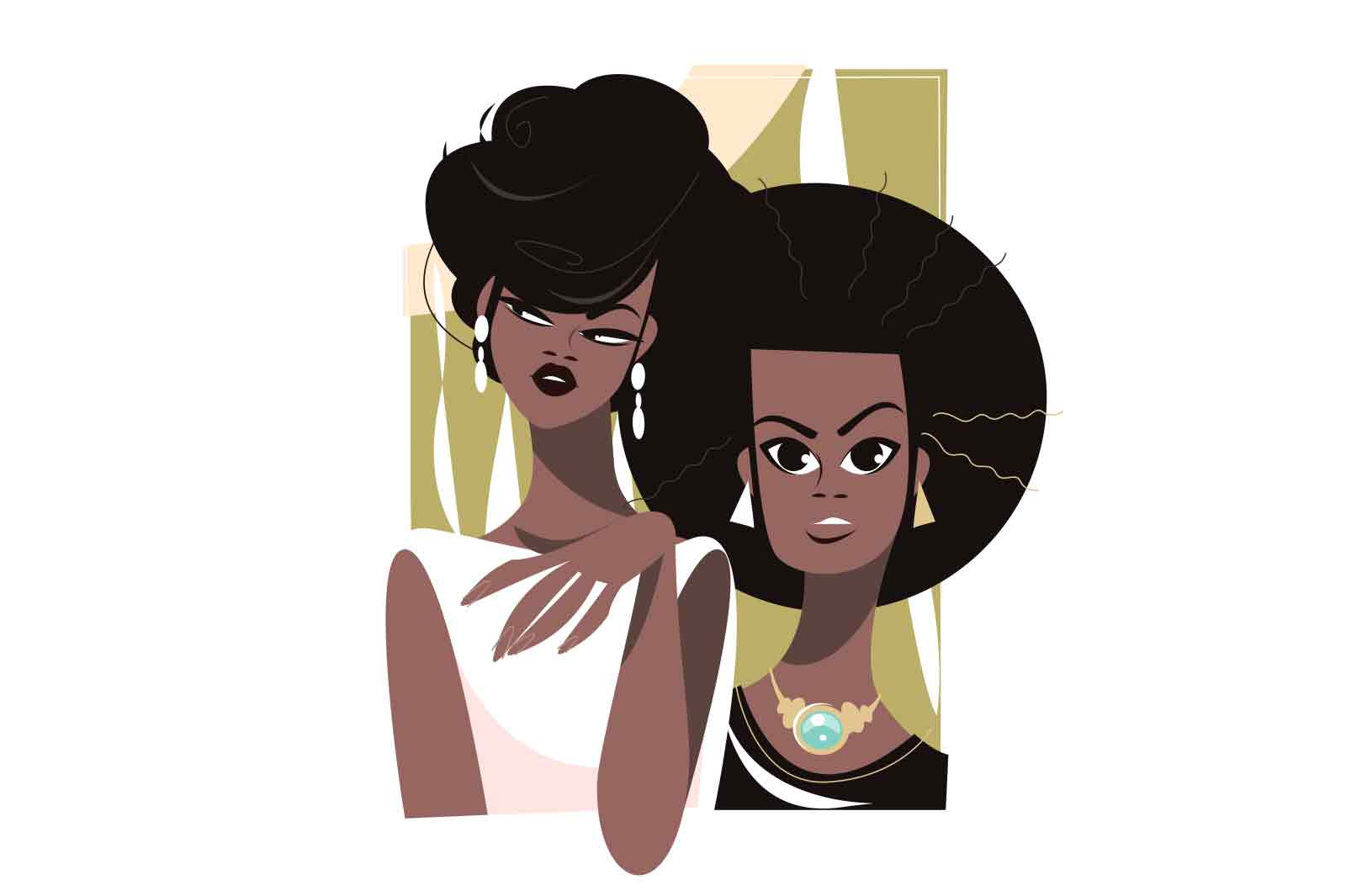 Afro girls with fashion hairstyles vector illustration. Young black women well dressed with accessories flat style. Fashion, trend concept