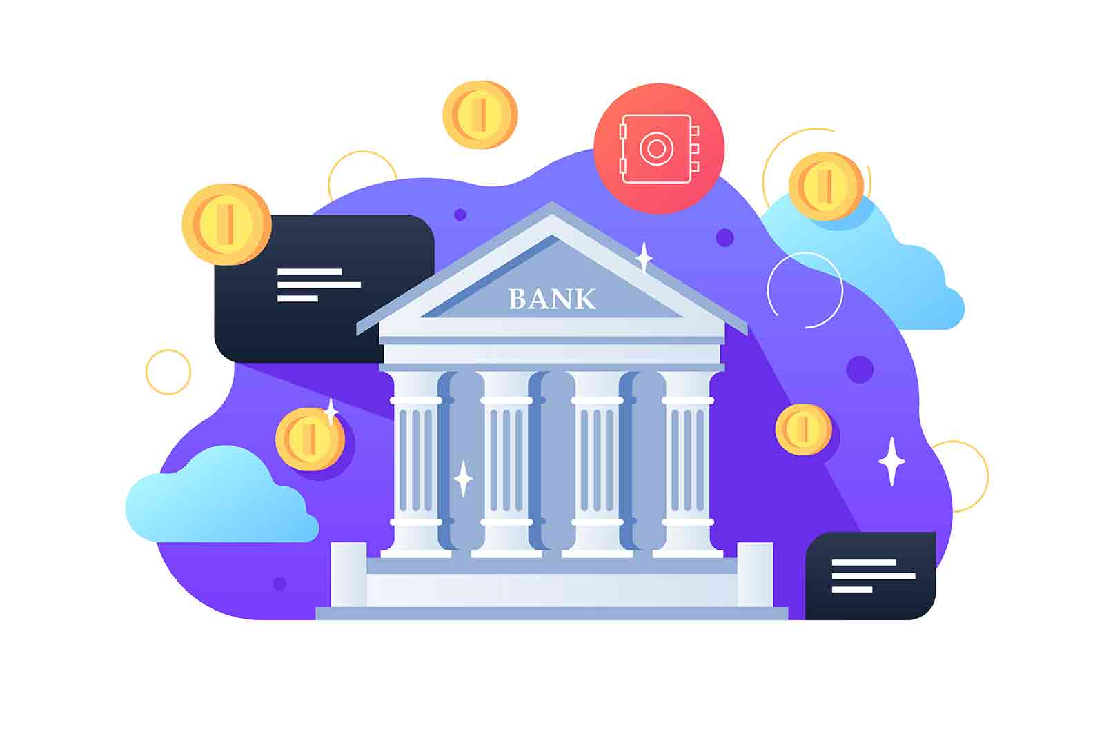 Bank building and coins vector illustration. Architecture building with columns flat style. Money exchange and financial services concept.
