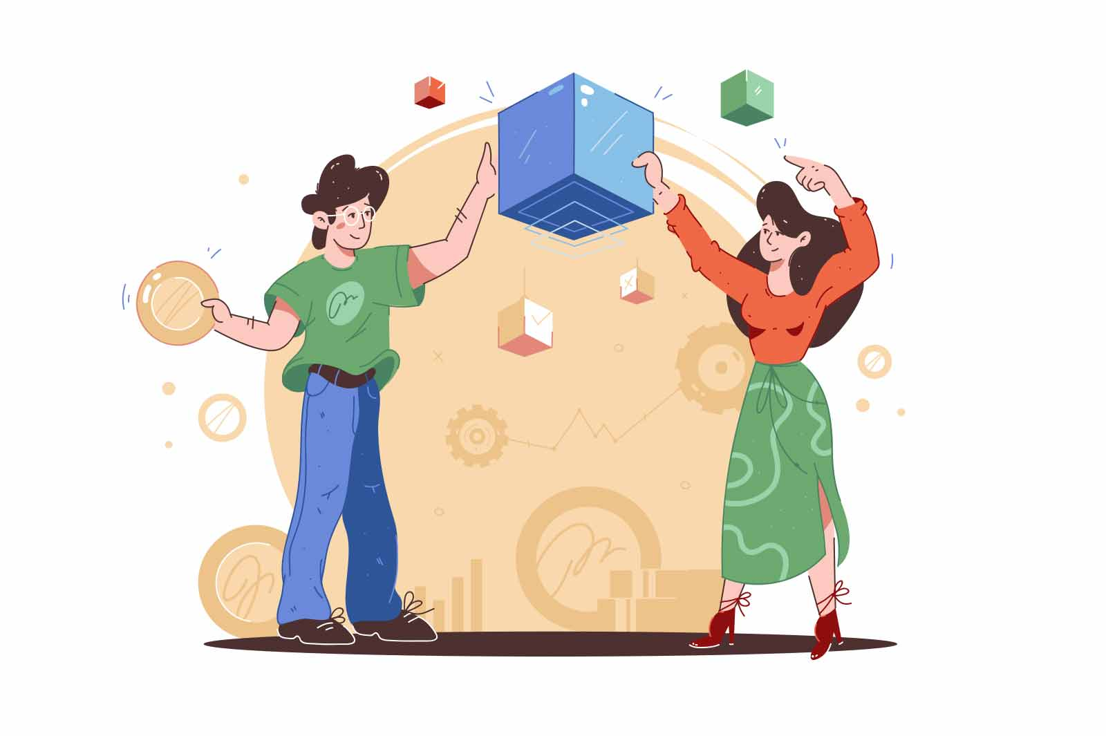 Boy and girl holding blockchain cubes vector illustration. Digital money, blockchain technology, cryptocurrency payment service flat concept