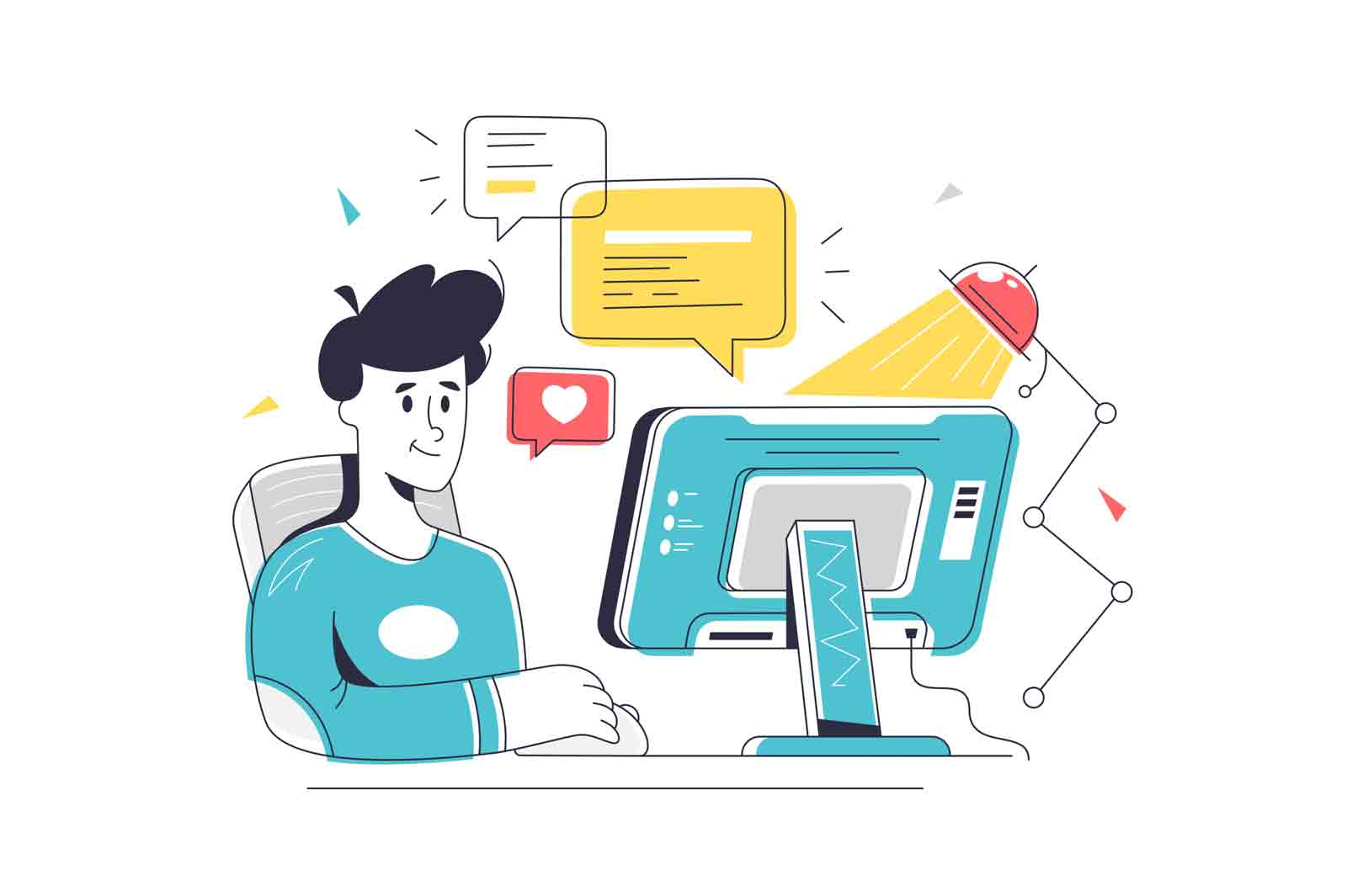 Male character sit by computer device. Vector reply to message, chat on website linear art style. Office, communication, freelance concept