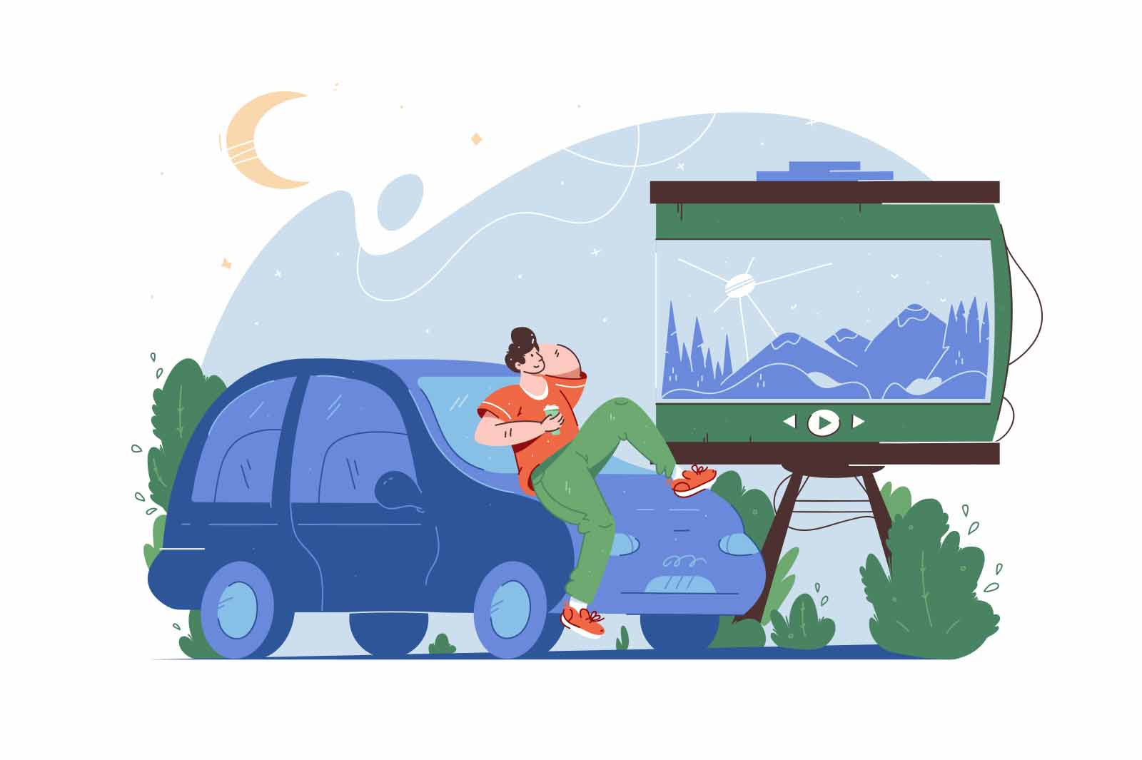 Guy watch cinema on open air on car vector illustration. Pastime outside, movie on big screen flat style. Nature, leisure, weekend concept