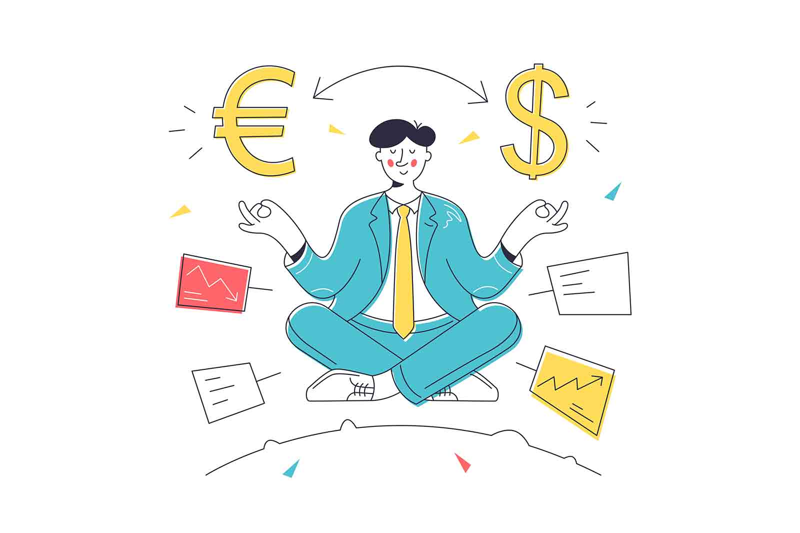 Currency exchange or conversion process vector illustration. Man meditating on foreign exchange linear. Money, currency trading concept