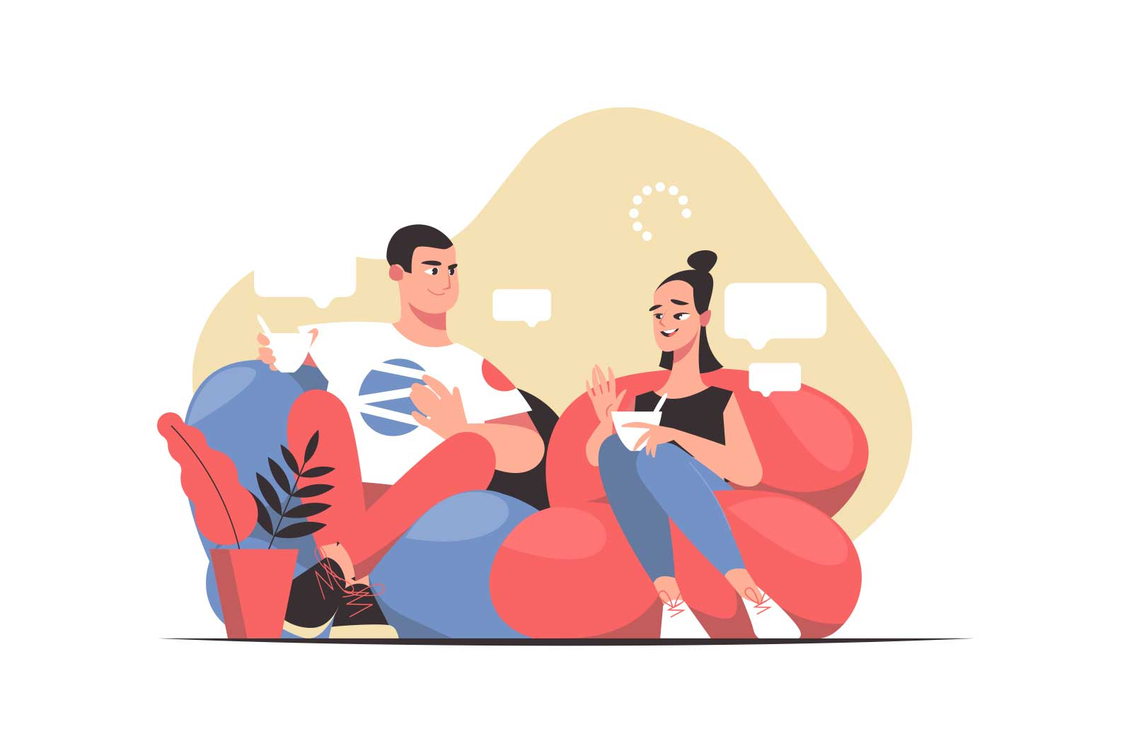 Friends enjoy discussion and cup of coffee vector illustration. Fun break for drink flat style. Friendship, communication, pastime concept