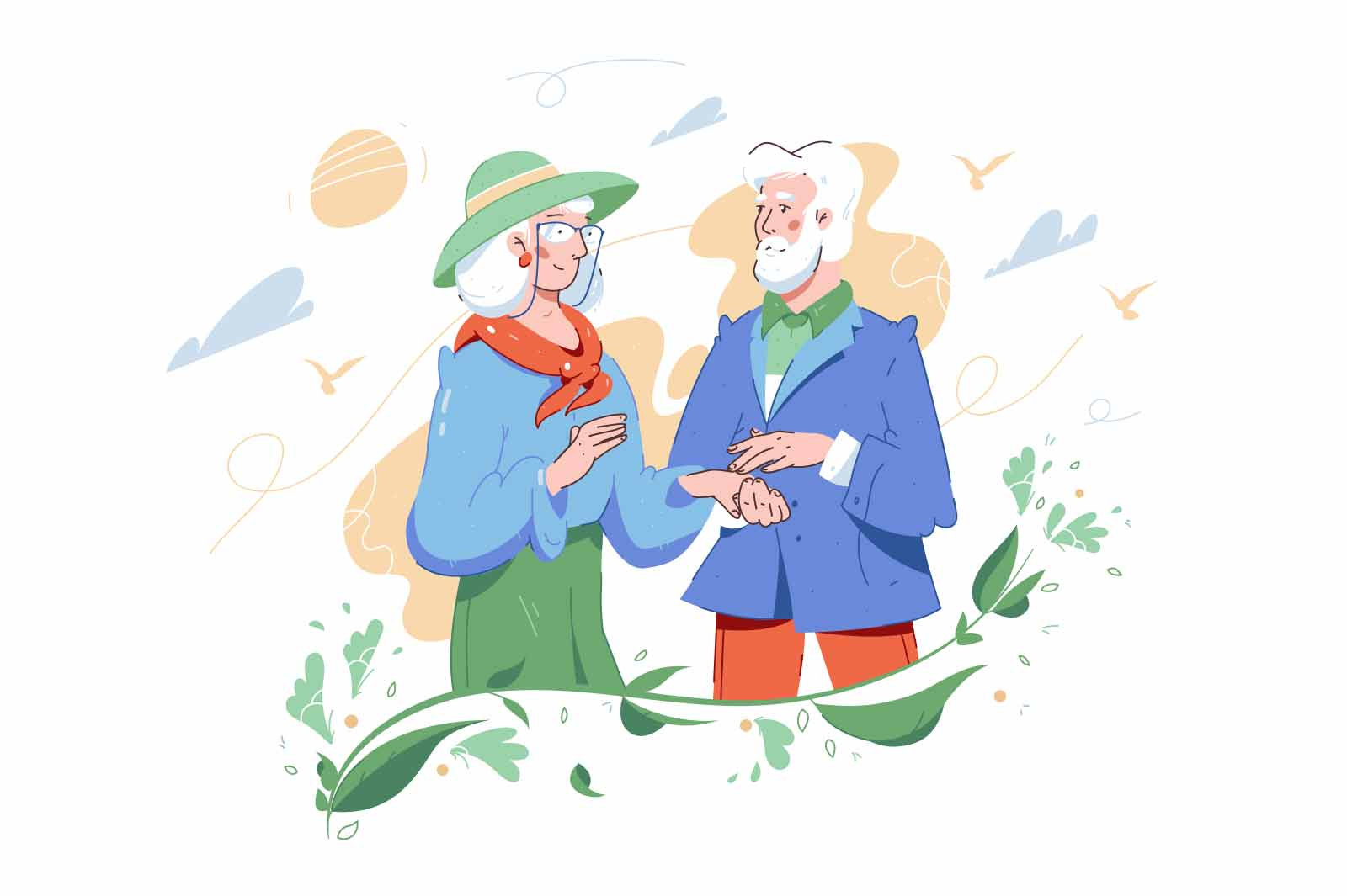 Happy senior couple holding hands vector illustration. Elderly married man and woman on nature flat style. Relationship, marriage concept