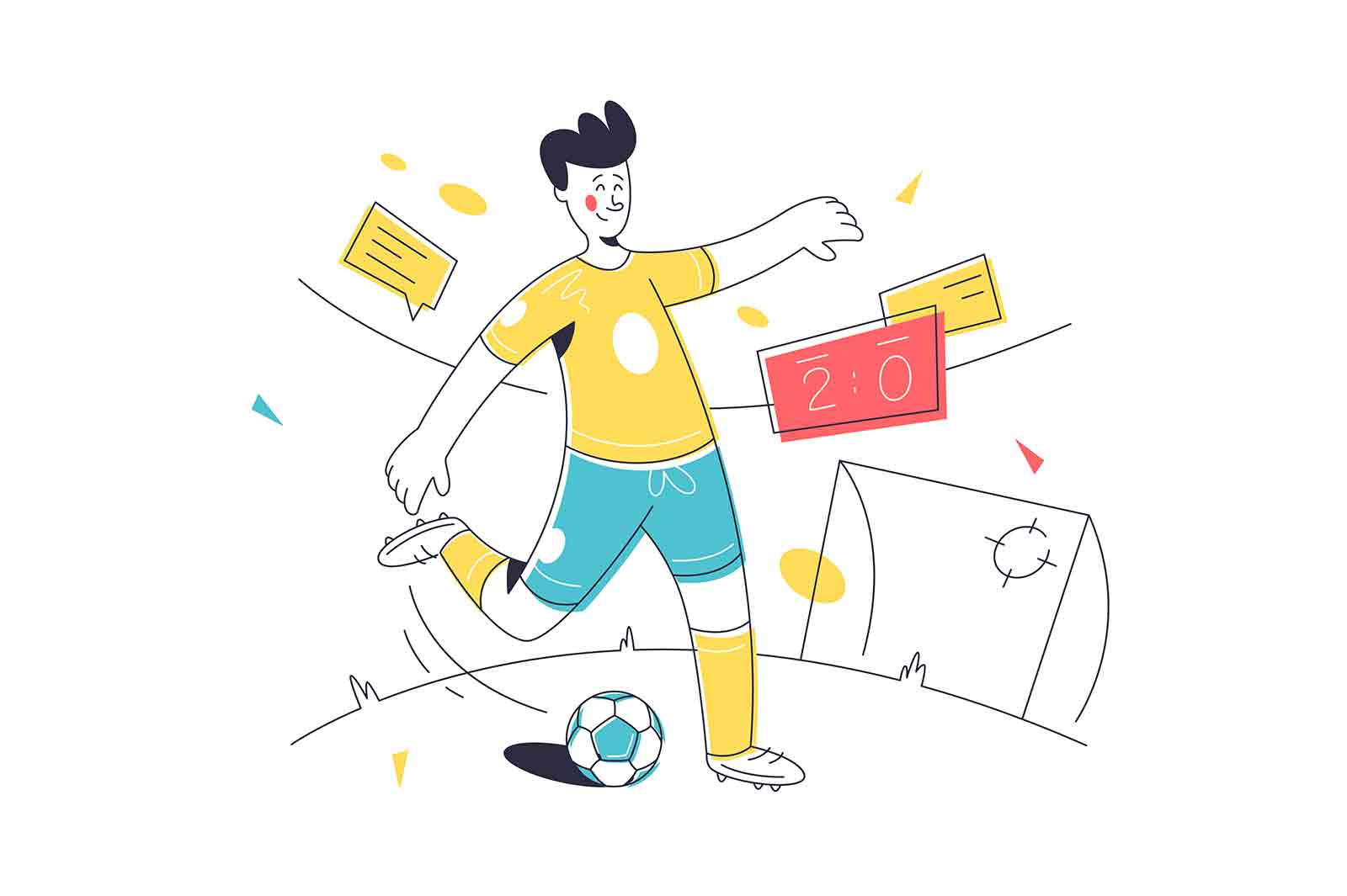 Teenager playing football on stadium vector illustration. Guy try to score goal linear style. Sport, competition, physical activity concept