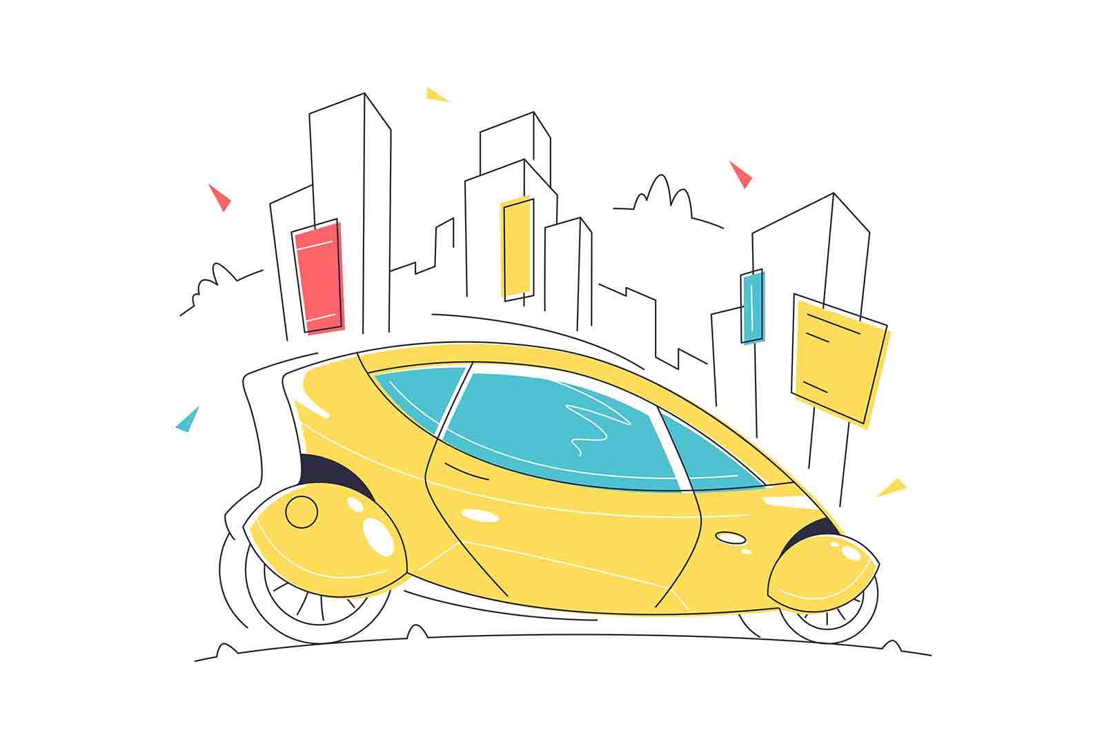 Futuristic self driving smart car vector illustration. Driverless vehicle linear. Transport of future, intelligent control system concept