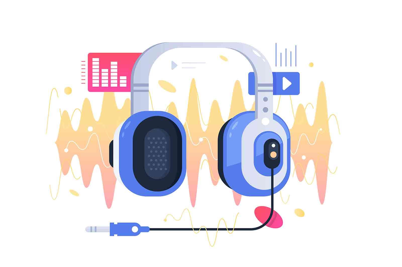 Modern headphones on sound wave illustration. Concept symbol device for listening music. Vector illustration.