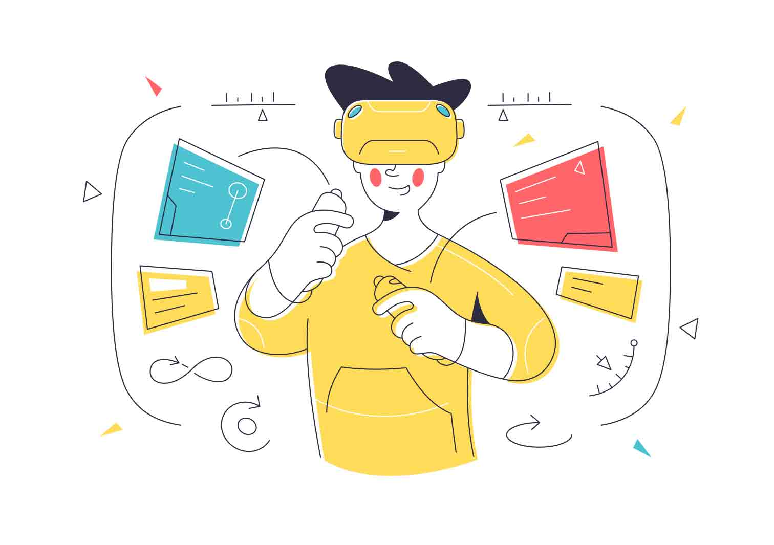 Simple illustrations in combined line and flat styles. Vector character illustrations.