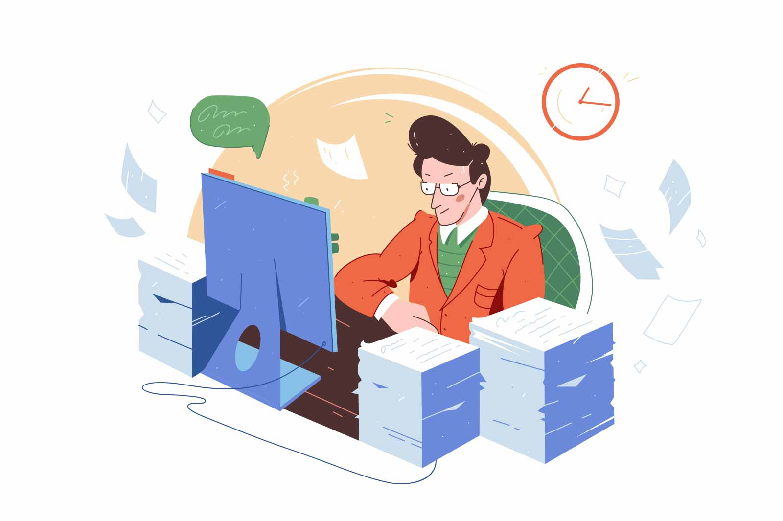 Office worker with large amount of work vector illustration. Tired employee with paper stack flat style. Clerk, workload, stress concept
