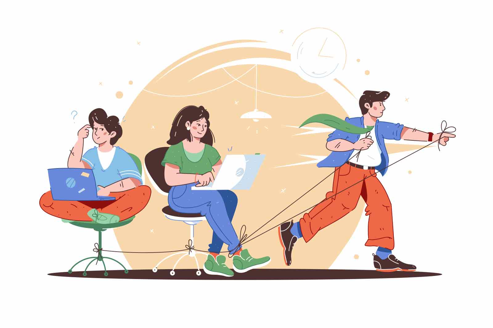 Workers follow leader in team vector illustration. Work together creates progress and winning flat style. Teamwork, goal achievement concept