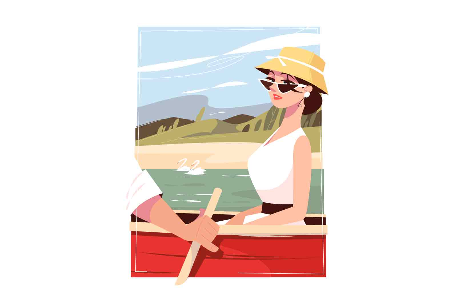 Lovers enjoy ride in boat vector illustration. Woman in hat on river with man flat style. Relationship, nature, outdoors activity concept