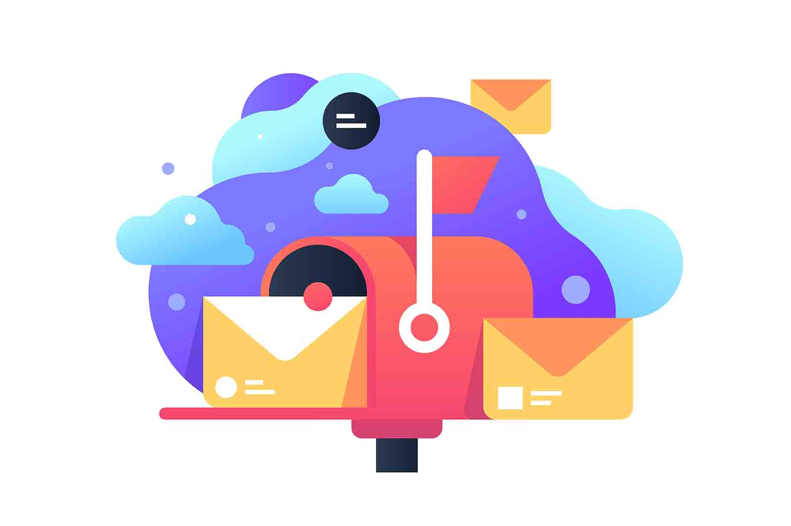 Classic mailbox with letter icon for post. Concept symbol personal delivery service for communication. Vector illustration.