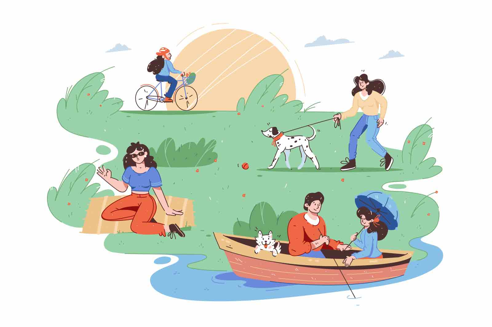 People rest in sunny city park vector illustration. Boat on lake, walk with pet dog, cycling flat style. Recreation, leisure, nature concept